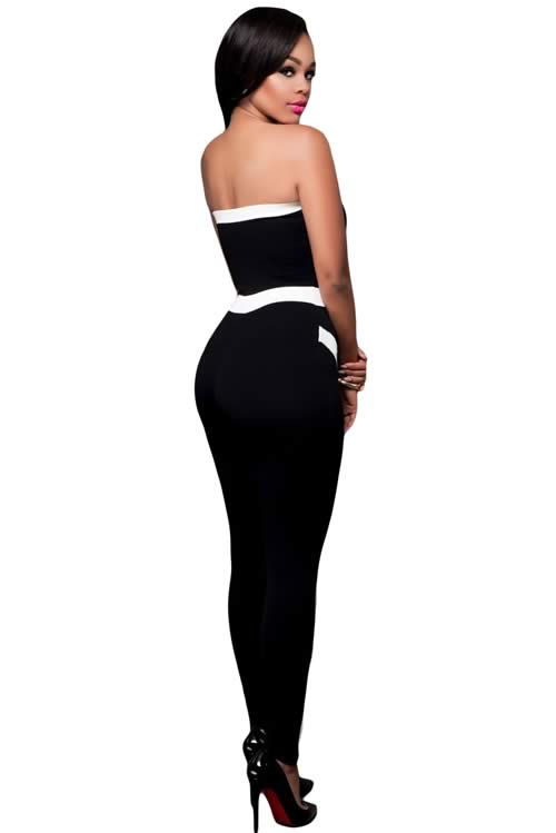 Band Trim Strapless Black Tapered Leg Jumpsuit in White