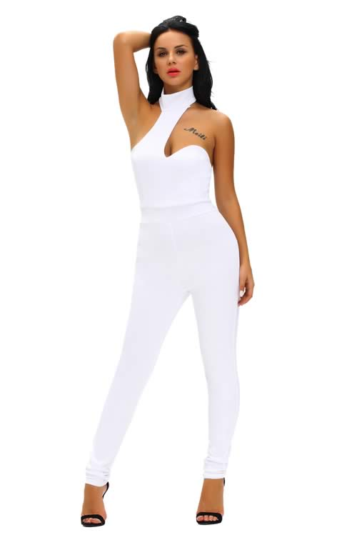 Sleeveless Backless Choker Open Back Jumpsuit in White