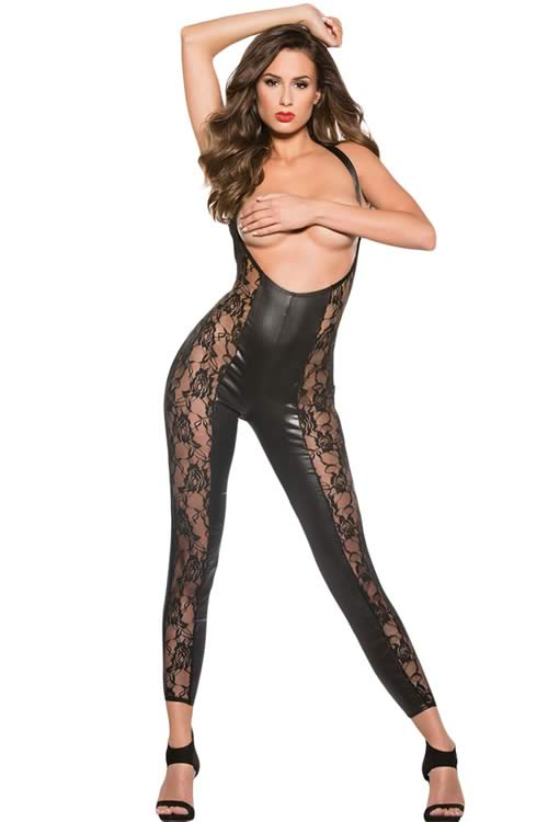 Sleeveless Plunging Neck Wet Look Lace Leather Jumpsuit in Black