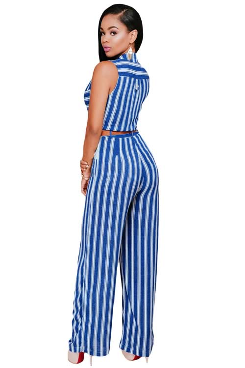 Sleeveless Striped Button Front Belted Wide Leg Jumpsuit in Blue