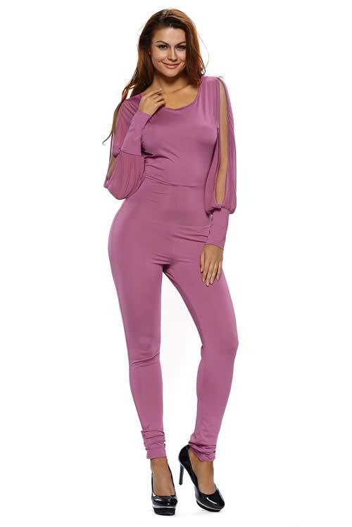 Sheer Split Long Sleeve Open Back Jumpsuit in Purple