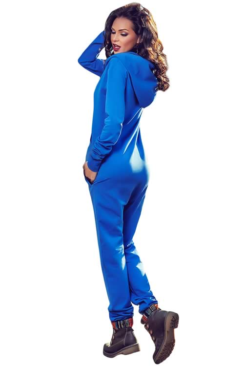 Long Sleeve Pocket Design Hooded Jumpsuit in Blue