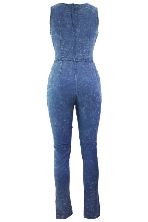 Sleeveless Denim Slim Bodycon Knee Slit Jean Jumpsuit in Blue