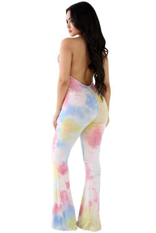 Blend Tie Dye Open Back Bell Bottom Jumpsuit in Yellow