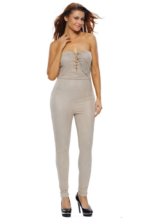 Deep V Lace up Faux Suede Strapless Jumpsuit in Khaki