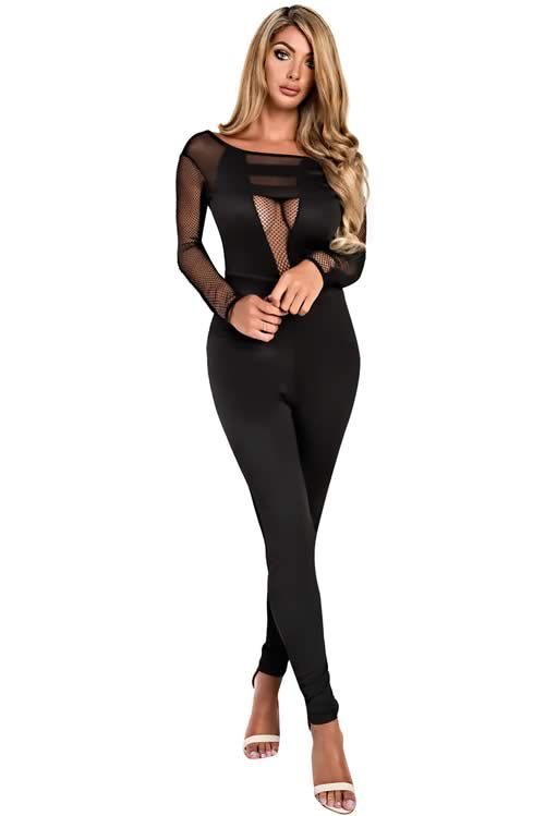 Mesh Long Sleeve Cut out Back Jumpsuit in Black