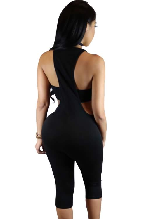 Sleeveless Spaghetti Strap Hollow out Cropped Jumpsuit in Black