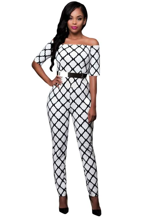 Off Shoulder Graphic Printed Belted Jumpsuit in White