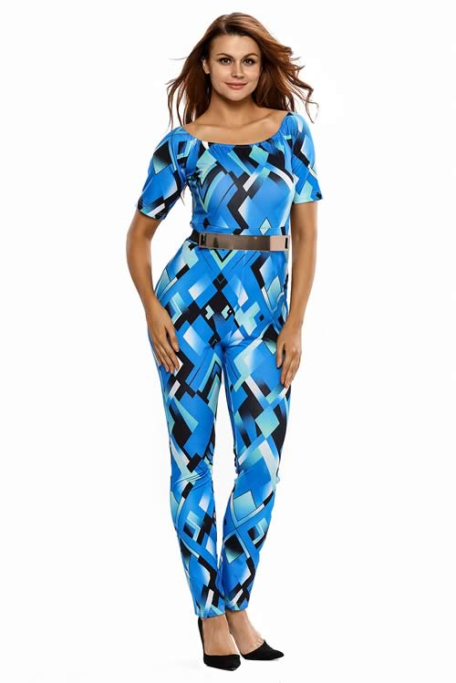 Off Shoulder Geometric Printed Belted Jumpsuit in Blue