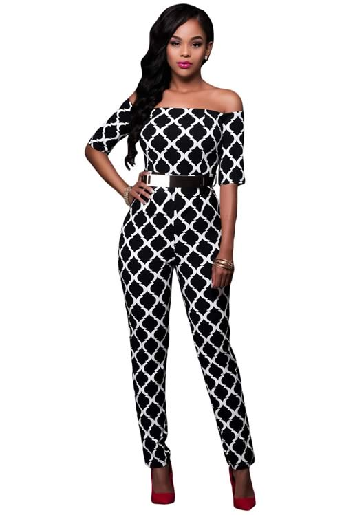 Off Shoulder Graphic Printed Belted Jumpsuit in Black