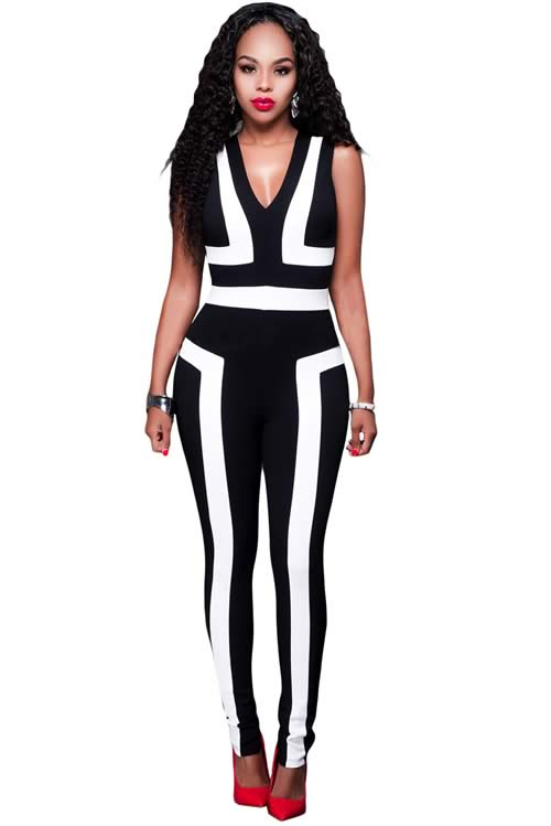V Neck Sleeveless Color Block Jumpsuit in Black White
