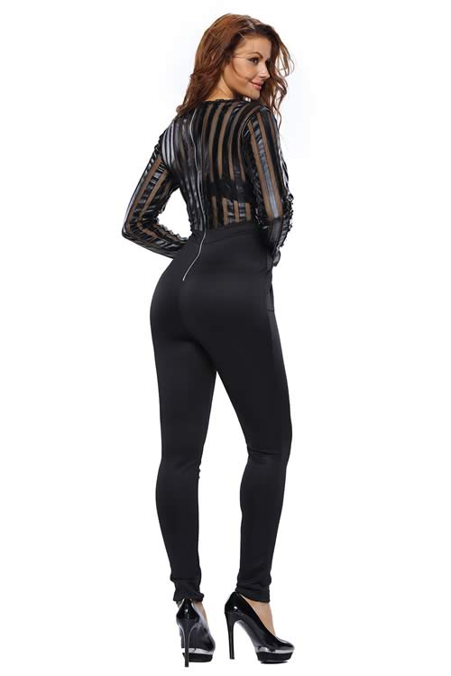 V Neck Mesh Faux Leather Striped Jumpsuit in Black
