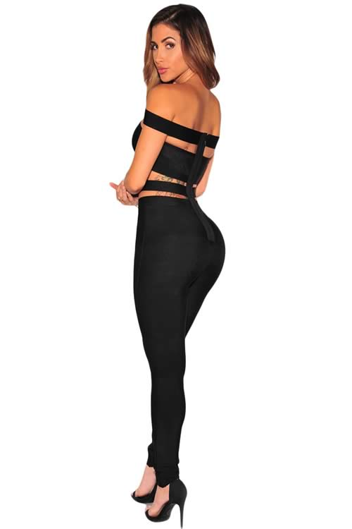 Sleeveless Off The Shoulder Hollow Out Bandage Jumpsuit in Black