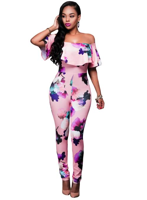 Floral Off The Shoulder Ruffle Top Jumpsuit in Pink