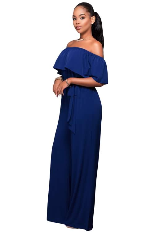 Ruffle Off Shoulder Belted Wide Leg Jumpsuit in Blue