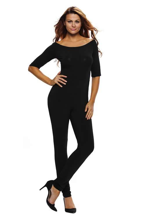 Off Shoulder 3/4 Sleeve Tapered Leg Jumpsuit in Black