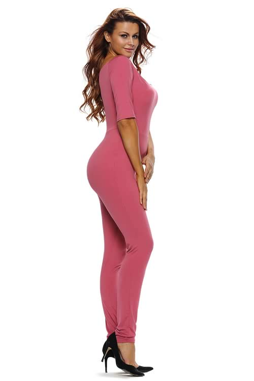 Off Shoulder 3/4 Sleeve Tapered Leg Jumpsuit in Rose