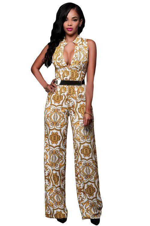 V Neck Floral Printed Belted Wide Leg Jumpsuit in White