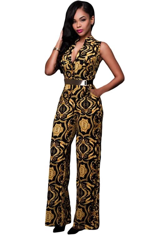 V Neck Floral Printed Belted Wide Leg Jumpsuit in Black