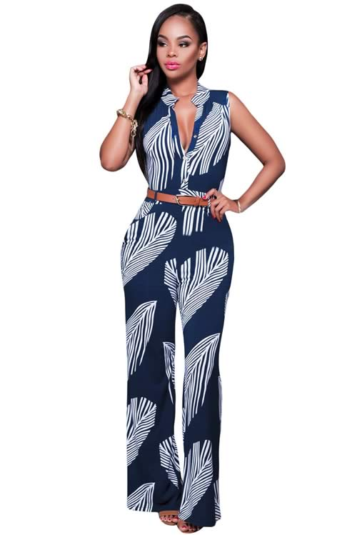 Sleeveless Feather Printed Button Front Wide Leg Jumpsuit in Blue