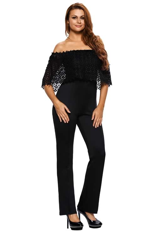 Lace Overlay Off Shoulder Wide Leg Jumpsuit in Black