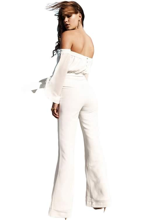 Long Sleeve Off Shoulder Wide Leg Jumpsuit in White