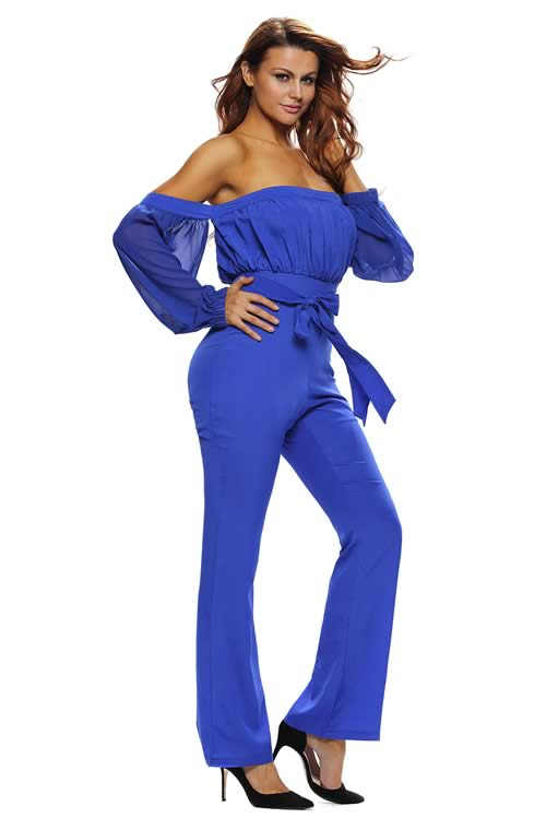 Long Sleeve Off Shoulder Wide Leg Jumpsuit in Blue