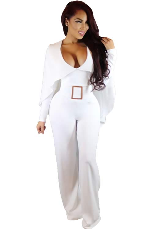Cape Long Sleeve Belted Wide Leg Jumpsuit in White