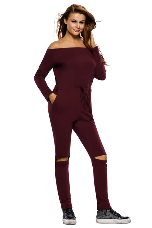 Knee Cutout Long Sleeve Off Shoulder Jumpsuit in Brown