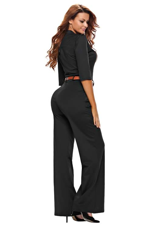 V Neck Half Sleeves Belted High Waisted Wide Leg Jumpsuit in Black