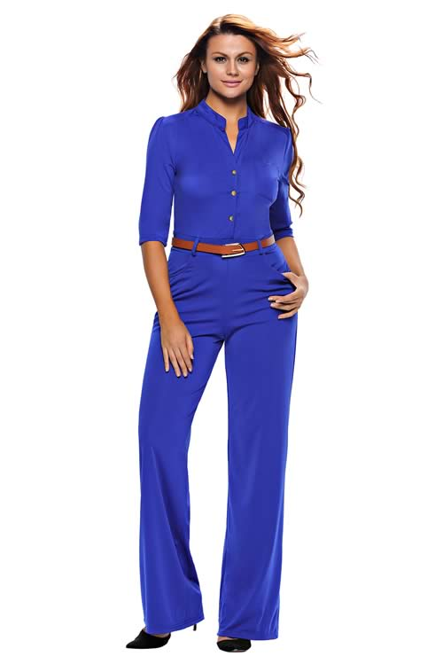 V Neck Half Sleeves Belted High Waisted Wide Leg Jumpsuit in Blue
