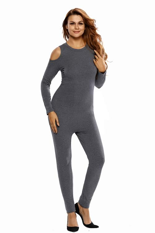 Cold Shoulder Long Sleeve Skinny Leg Jumpsuit in Grey