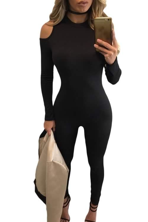 Cold Shoulder Long Sleeve Skinny Leg Jumpsuit in Black