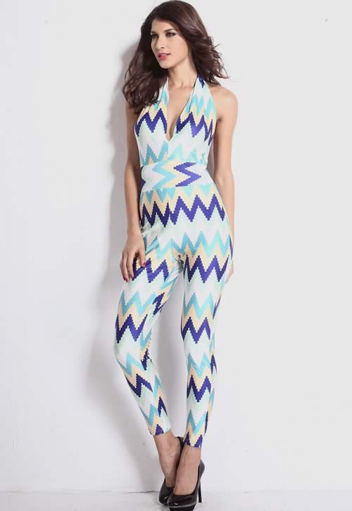 Colorful Zigzag Sleeveless Backless Tapered Leg Jumpsuit
