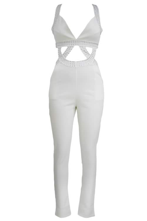 Sleeveless V Neck Jeweled Cut out Jumpsuit in White