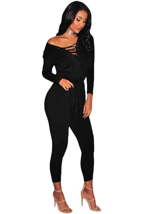V Neck Grommet Lace Up Long Sleeve Jumpsuit in Black