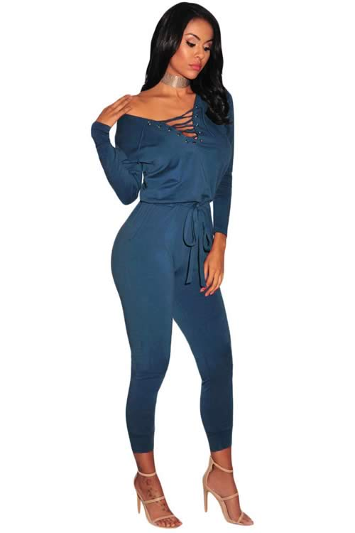 V Neck Grommet Lace Up Long Sleeve Jumpsuit in Blue