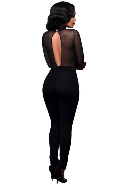 High Neck Keyhole Mesh Sleeve Skinny Leg Jumpsuit in Black