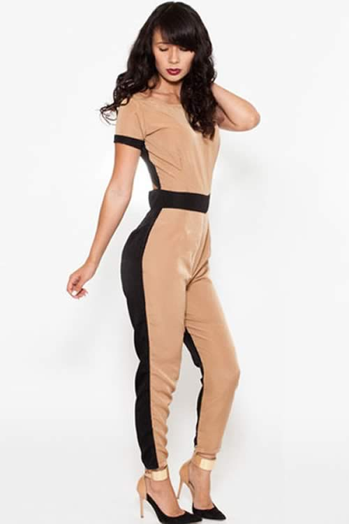 Short Sleeve Cut Out Back Tapered Leg Jumpsuit in Black Khaki