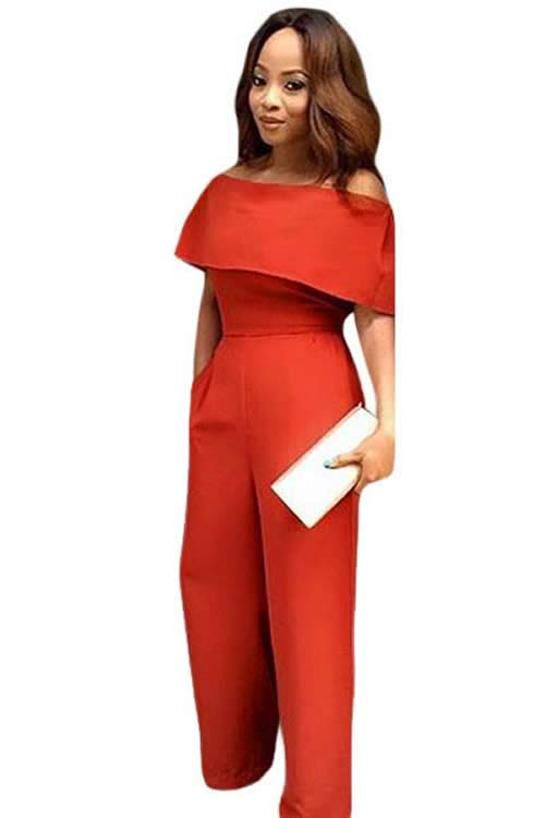 ed498529d2 Cape Off Shoulder Pocket Wide Leg Jumpsuit in Orange