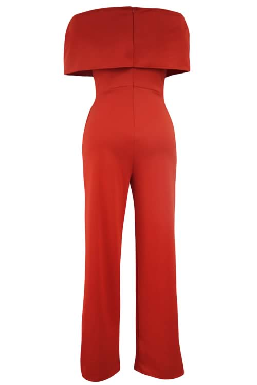 Cape Off Shoulder Pocket Wide Leg Jumpsuit in Orange