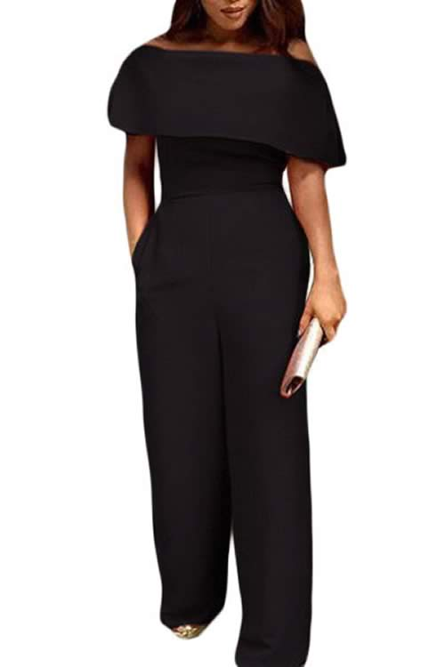 Cape Off Shoulder Pocket Wide Leg Jumpsuit in Black