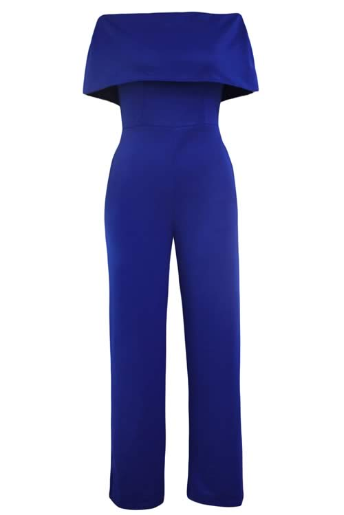 Cape Off Shoulder Pocket Wide Leg Jumpsuit in Blue