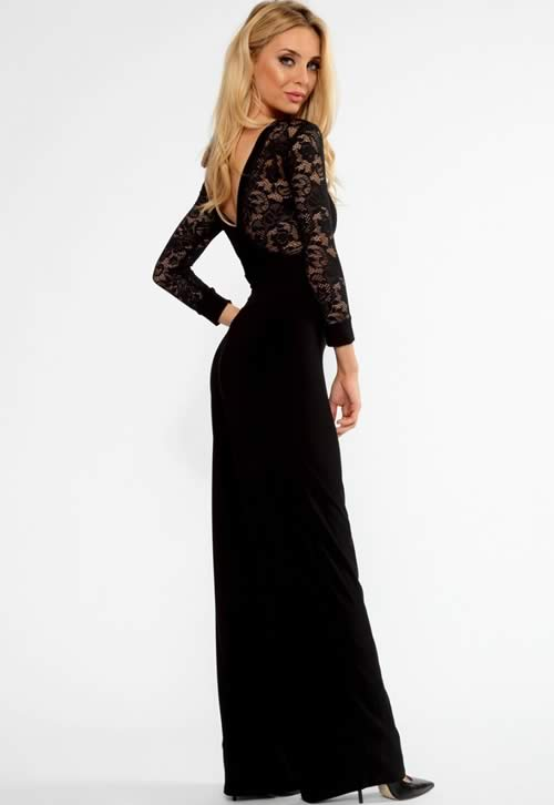 Lace Long Sleeve V Back Flared Jumpsuit in Black
