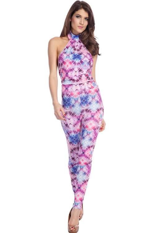 Sleeveless Backless High Neck Floral Printed Jumpsuit
