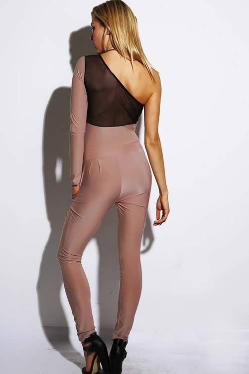 One Shoulder Long Sleeve Mesh Sweethear Neck Jumpsuit in Brown