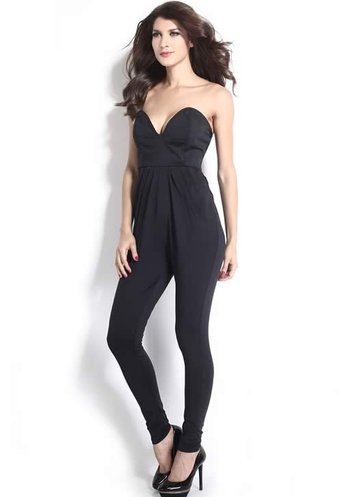 V Neck Backless Sleeveless Harem Pants Jumpsuit in Black