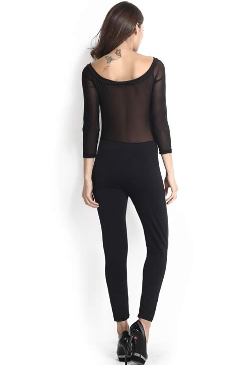 Mesh Insert Off Shoulder Long Sleeve Jumpsuit in Black
