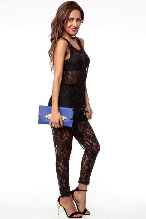 Sleeveless Lace Scoop Neck Harem Jumpsuit in Black