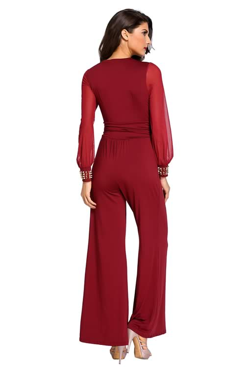 Stud Cuffs Mesh Long Sleeve Wide Leg Jumpsuit in Red